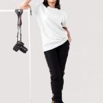 Áo thun tay ngắn nữ dáng rộng trắng